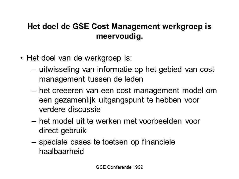 GSE Conferentie 1999 Het doel van de werkgroep is: –uitwisseling van informatie op het gebied van cost management tussen de leden –het creeeren van een cost management model om een gezamenlijk uitgangspunt te hebben voor verdere discussie –het model uit te werken met voorbeelden voor direct gebruik –speciale cases te toetsen op financiele haalbaarheid Het doel de GSE Cost Management werkgroep is meervoudig.