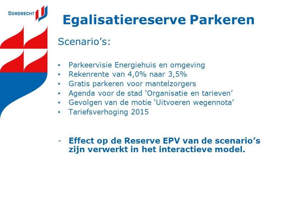 Egalisatiereserve Parkeren Scenario's: Parkeervisie Energiehuis en omgeving Rekenrente van 4,0% naar 3,5% Gratis parkeren voor mantelzorgers Agenda voor de stad 'Organisatie en tarieven' Gevolgen van de motie 'Uitvoeren wegennota' Tariefsverhoging 2015 -Effect op de Reserve EPV van de scenario's zijn verwerkt in het interactieve model.