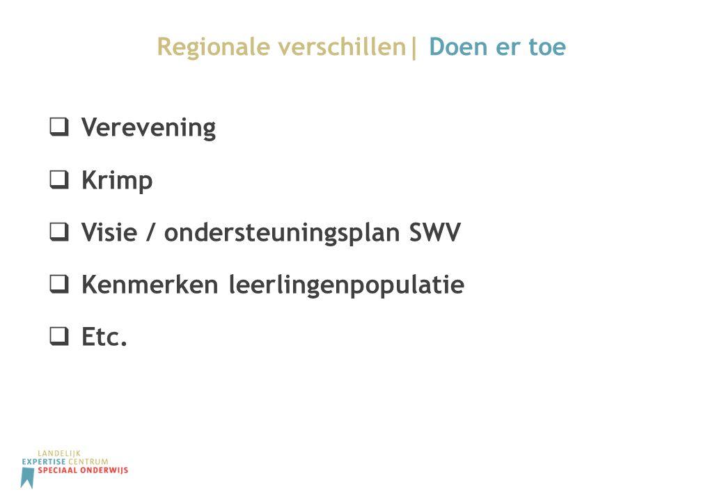 Regionale verschillen| Doen er toe  Verevening  Krimp  Visie / ondersteuningsplan SWV  Kenmerken leerlingenpopulatie  Etc.