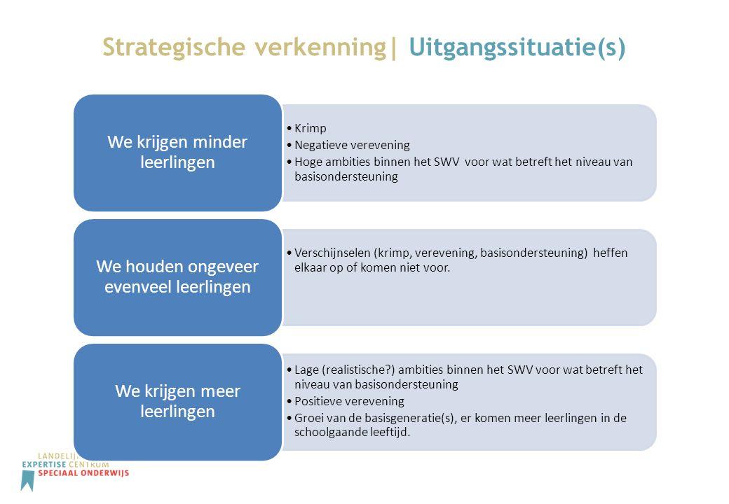 Strategische verkenning| Keuzes van SWV-en Het SWV maakt (graag) gebruik van de kennis en expertise van het (V)SO Er zijn afspraken met het SWV over de inzet van mensen en middelen uit het (V)SO t.b.v.