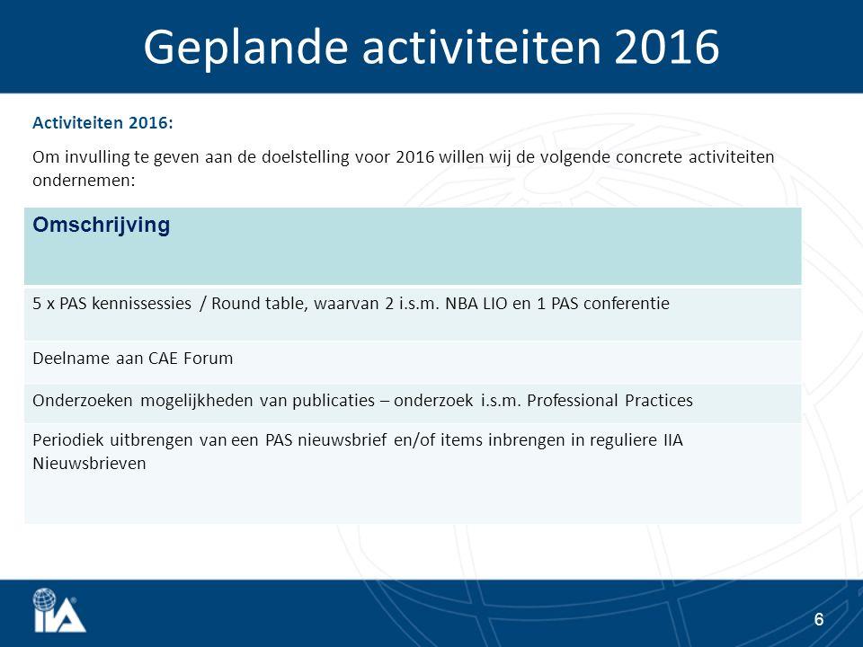 Begroting 2016: De doelstelling is om net als voorgaande jaren break-even te draaien.