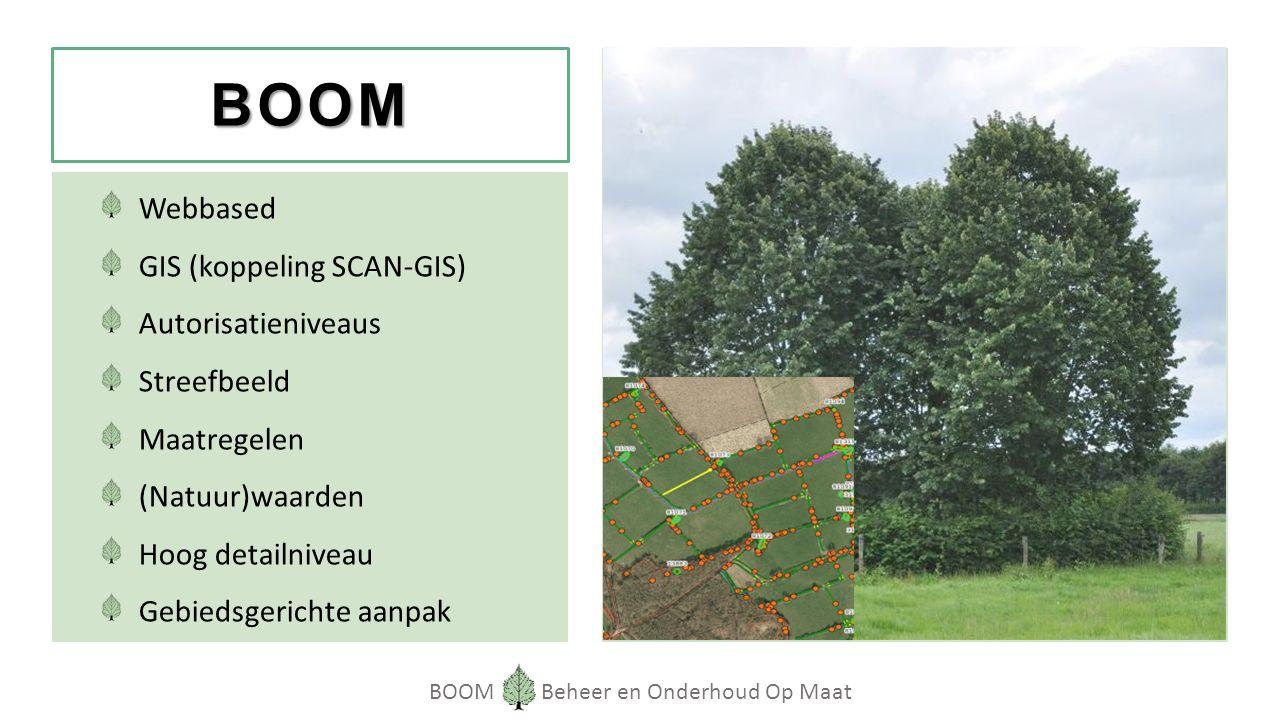 BOOM Beheer en Onderhoud Op Maat BOOM Webbased GIS (koppeling SCAN-GIS) Autorisatieniveaus Streefbeeld Maatregelen (Natuur)waarden Hoog detailniveau Gebiedsgerichte aanpak