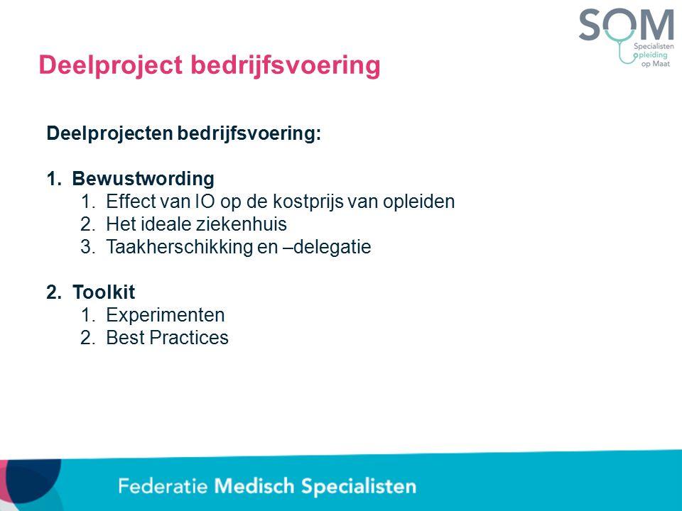 Deelproject bedrijfsvoering Deelprojecten bedrijfsvoering: 1.Bewustwording 1.Effect van IO op de kostprijs van opleiden 2.Het ideale ziekenhuis 3.Taakherschikking en –delegatie 2.Toolkit 1.Experimenten 2.Best Practices