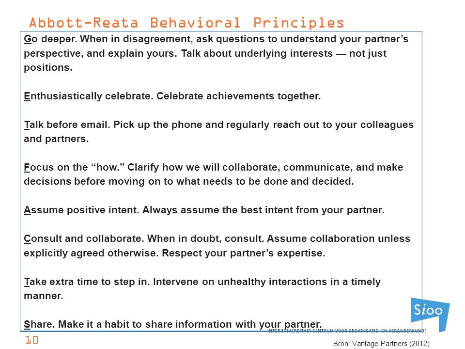 Abbott-Reata Behavioral Principles Go deeper. When in disagreement, ask questions to understand your partner's perspective, and explain yours. Talk ab