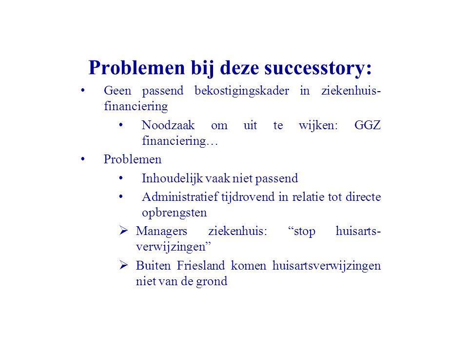 Problemen bij deze successtory: Geen passend bekostigingskader in ziekenhuis- financiering Noodzaak om uit te wijken: GGZ financiering… Problemen Inho