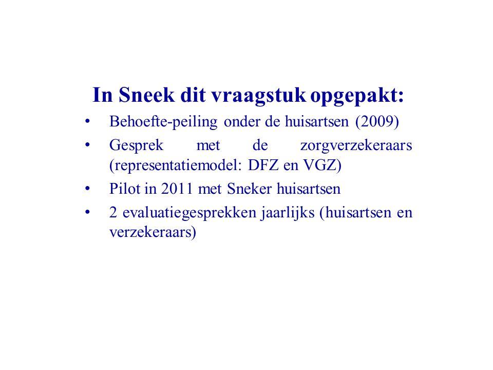 In Sneek dit vraagstuk opgepakt: Behoefte-peiling onder de huisartsen (2009) Gesprek met de zorgverzekeraars (representatiemodel: DFZ en VGZ) Pilot in 2011 met Sneker huisartsen 2 evaluatiegesprekken jaarlijks (huisartsen en verzekeraars)