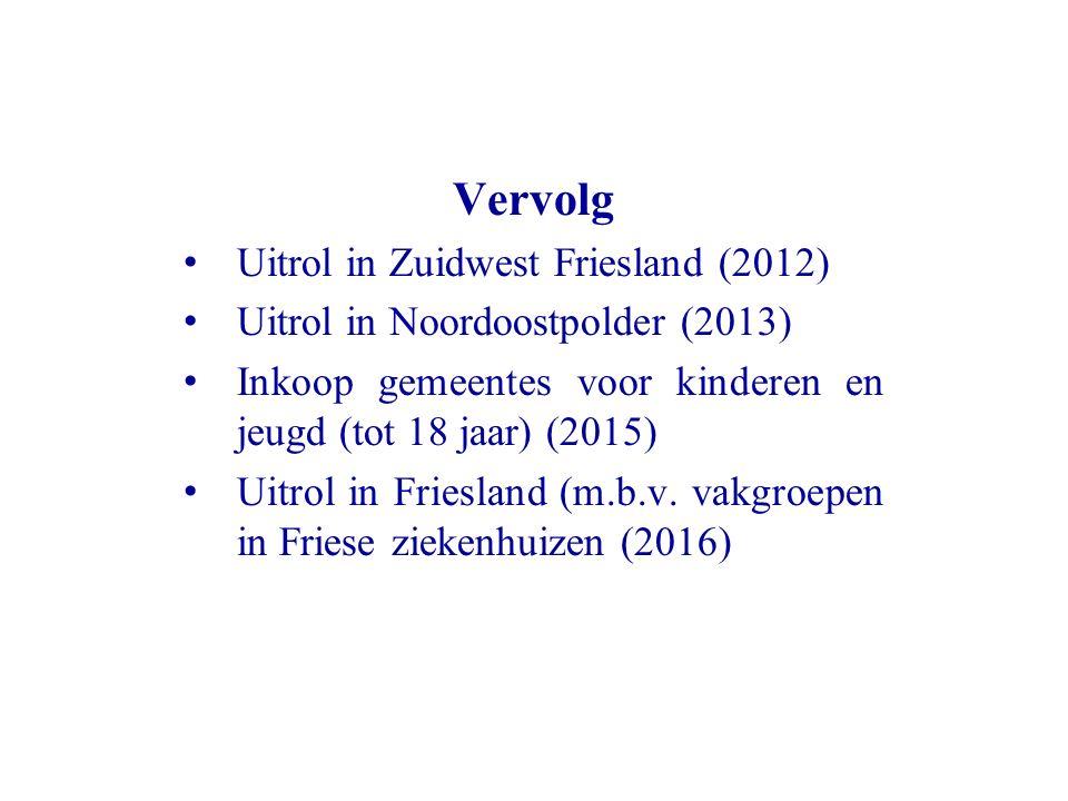 Vervolg Uitrol in Zuidwest Friesland (2012) Uitrol in Noordoostpolder (2013) Inkoop gemeentes voor kinderen en jeugd (tot 18 jaar) (2015) Uitrol in Fr