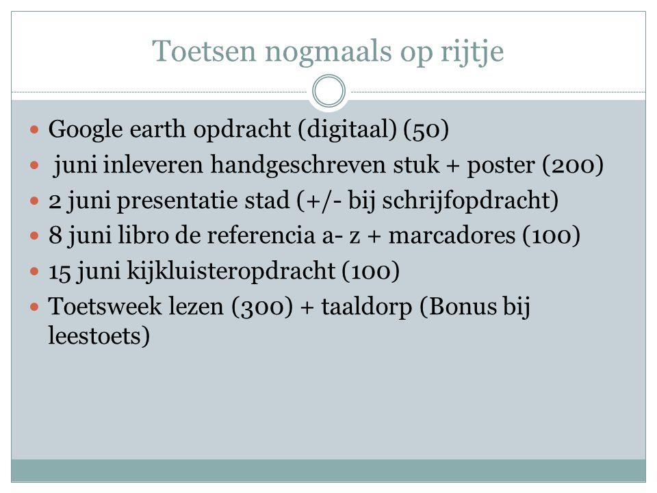 Toetsen nogmaals op rijtje Google earth opdracht (digitaal) (50) juni inleveren handgeschreven stuk + poster (200) 2 juni presentatie stad (+/- bij sc