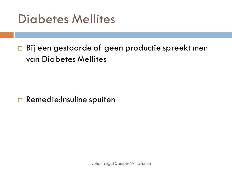 Johan Bugel Campus Winschoten Diabetes Mellites  Bij een gestoorde of geen productie spreekt men van Diabetes Mellites  Remedie:Insuline spuiten