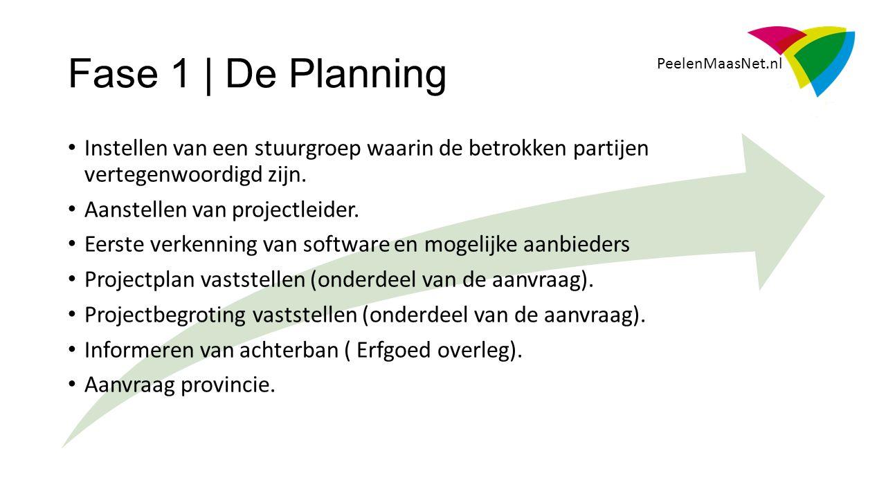 Fase 1 | De Planning PeelenMaasNet.nl Instellen van een stuurgroep waarin de betrokken partijen vertegenwoordigd zijn.