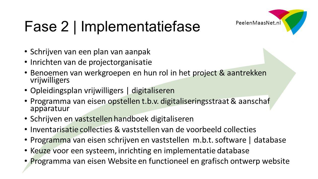 PeelenMaasNet.nl Schrijven van een plan van aanpak Inrichten van de projectorganisatie Benoemen van werkgroepen en hun rol in het project & aantrekken vrijwilligers Opleidingsplan vrijwilligers | digitaliseren Programma van eisen opstellen t.b.v.