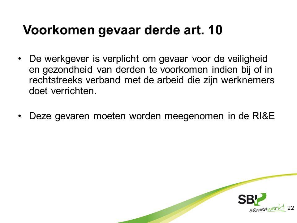 Voorkomen gevaar derde art. 10 De werkgever is verplicht om gevaar voor de veiligheid en gezondheid van derden te voorkomen indien bij of in rechtstre