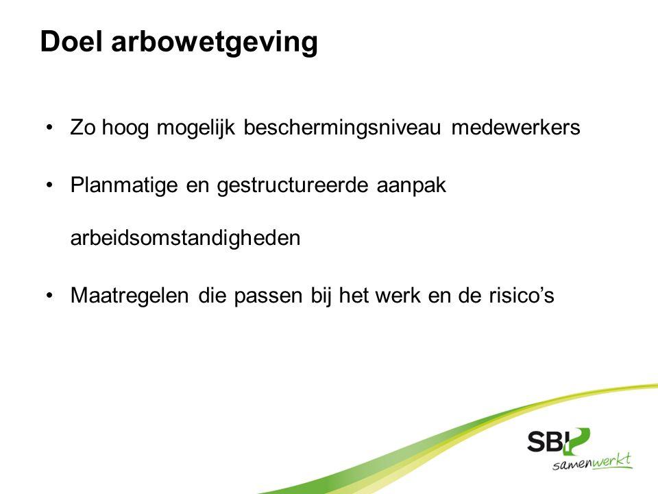 Arbowet: algemene doelen Arbobesluit: doelvoorschriften Arbocatalogus: middelvoorschriften Arboregeling: uitwerking doelvoorschriften Publiek domein (wettelijk kader) Privaat domein (sociale partners)