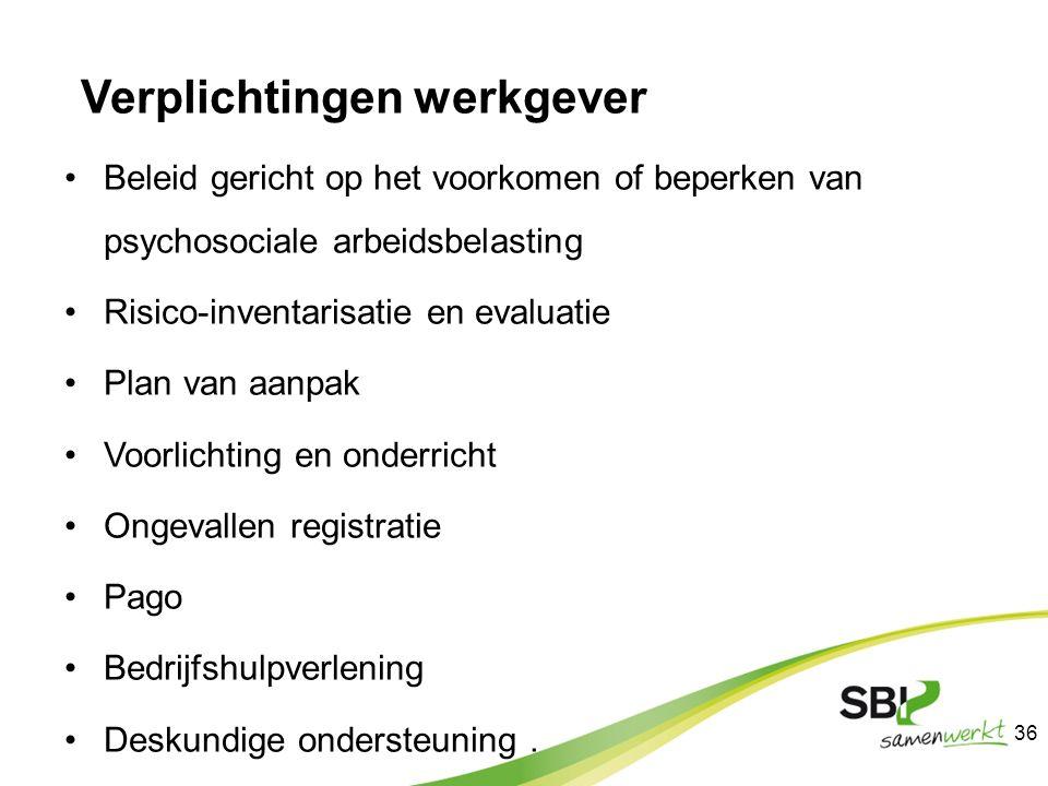 Verplichtingen werkgever Beleid gericht op het voorkomen of beperken van psychosociale arbeidsbelasting Risico-inventarisatie en evaluatie Plan van aa