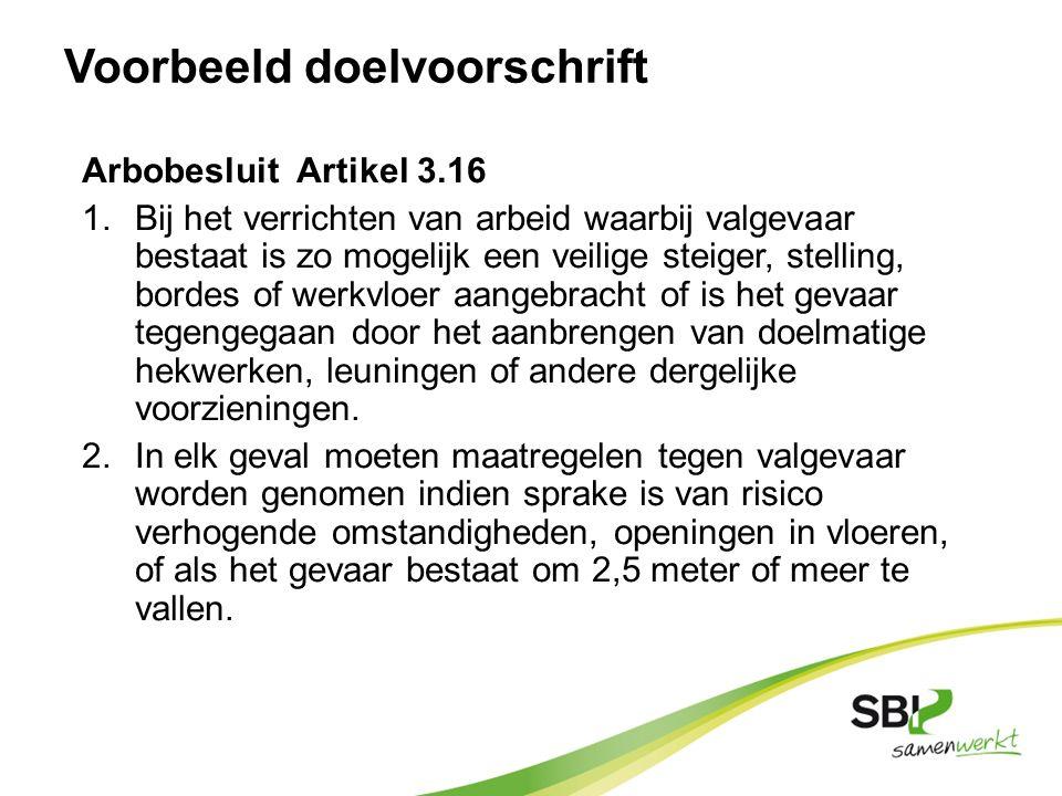 Voorbeeld doelvoorschrift Arbobesluit Artikel 3.16 1.Bij het verrichten van arbeid waarbij valgevaar bestaat is zo mogelijk een veilige steiger, stell