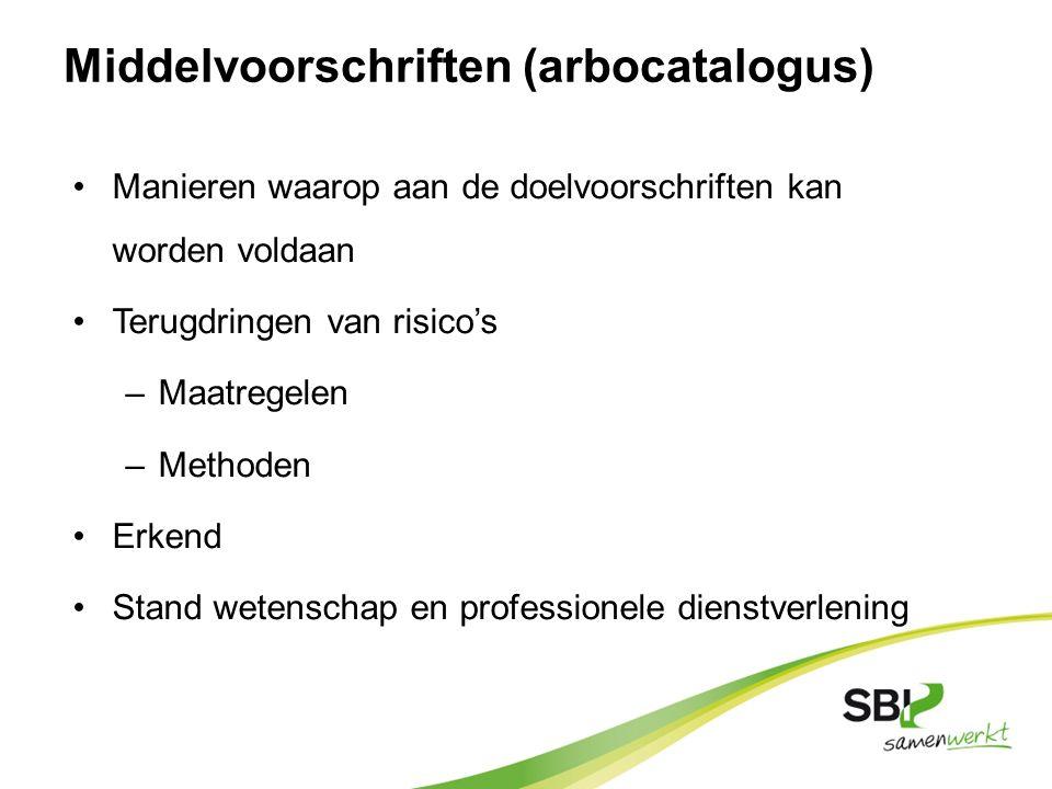 Middelvoorschriften (arbocatalogus) Manieren waarop aan de doelvoorschriften kan worden voldaan Terugdringen van risico's –Maatregelen –Methoden Erken