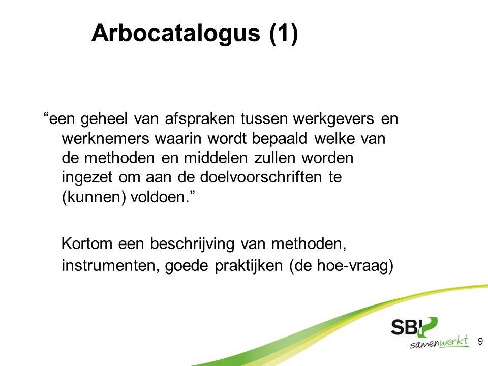 """Arbocatalogus (1) """"een geheel van afspraken tussen werkgevers en werknemers waarin wordt bepaald welke van de methoden en middelen zullen worden ingez"""