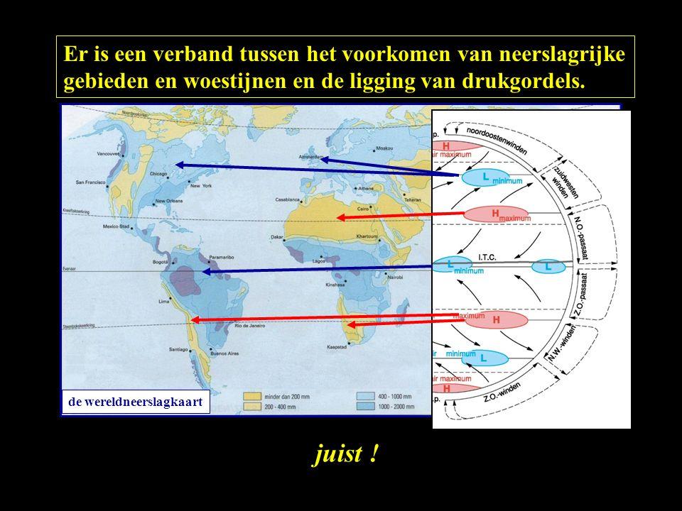 Er is een verband tussen het voorkomen van neerslagrijke gebieden en woestijnen en de ligging van drukgordels. juist ! de wereldneerslagkaart