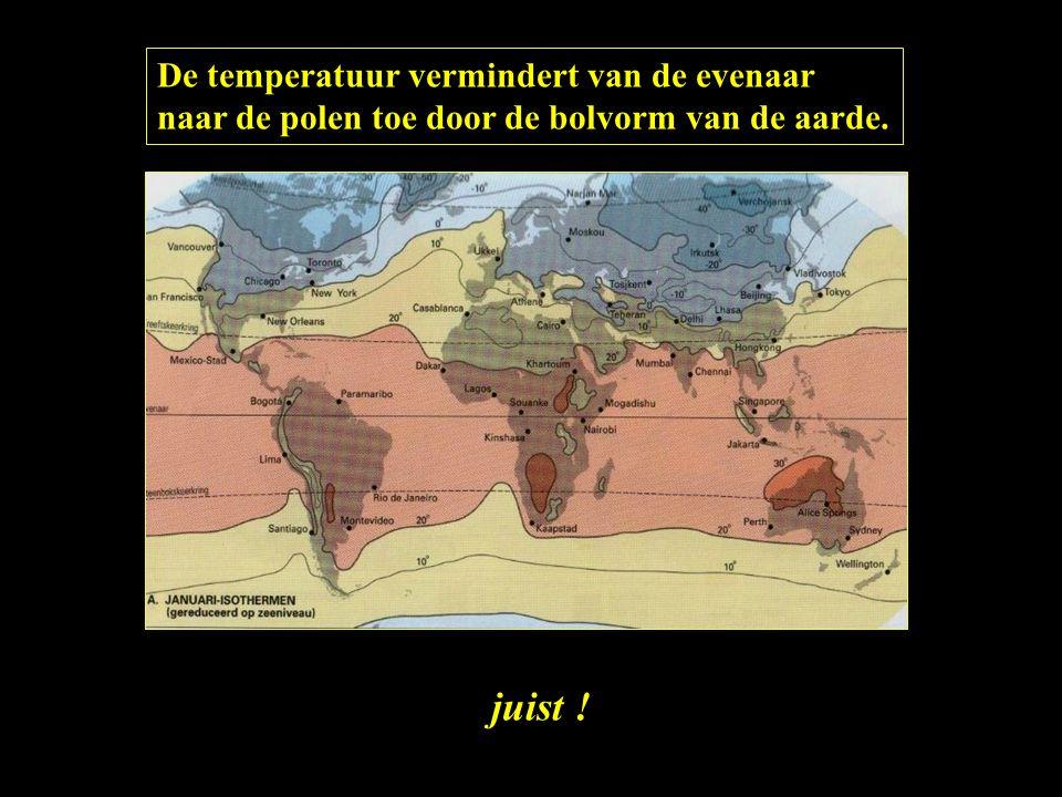 De temperatuur vermindert van de evenaar naar de polen toe door de bolvorm van de aarde. juist !