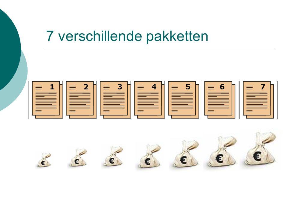 7 verschillende pakketten 1234567