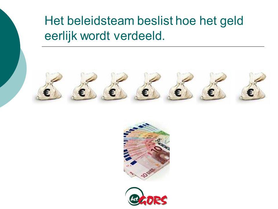 Het beleidsteam beslist hoe het geld eerlijk wordt verdeeld.