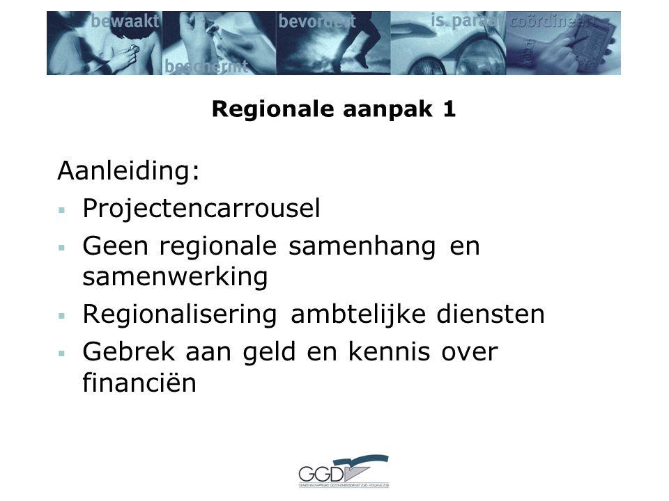 Regionale aanpak 1 Aanleiding:  Projectencarrousel  Geen regionale samenhang en samenwerking  Regionalisering ambtelijke diensten  Gebrek aan geld en kennis over financiën