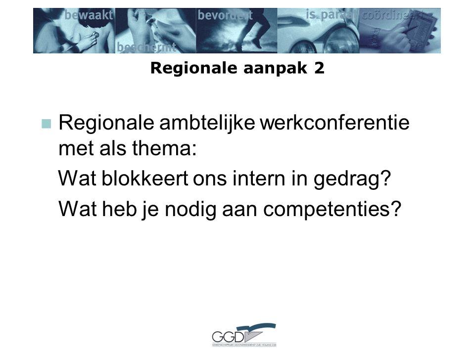Regionale aanpak 2 Regionale ambtelijke werkconferentie met als thema: Wat blokkeert ons intern in gedrag.