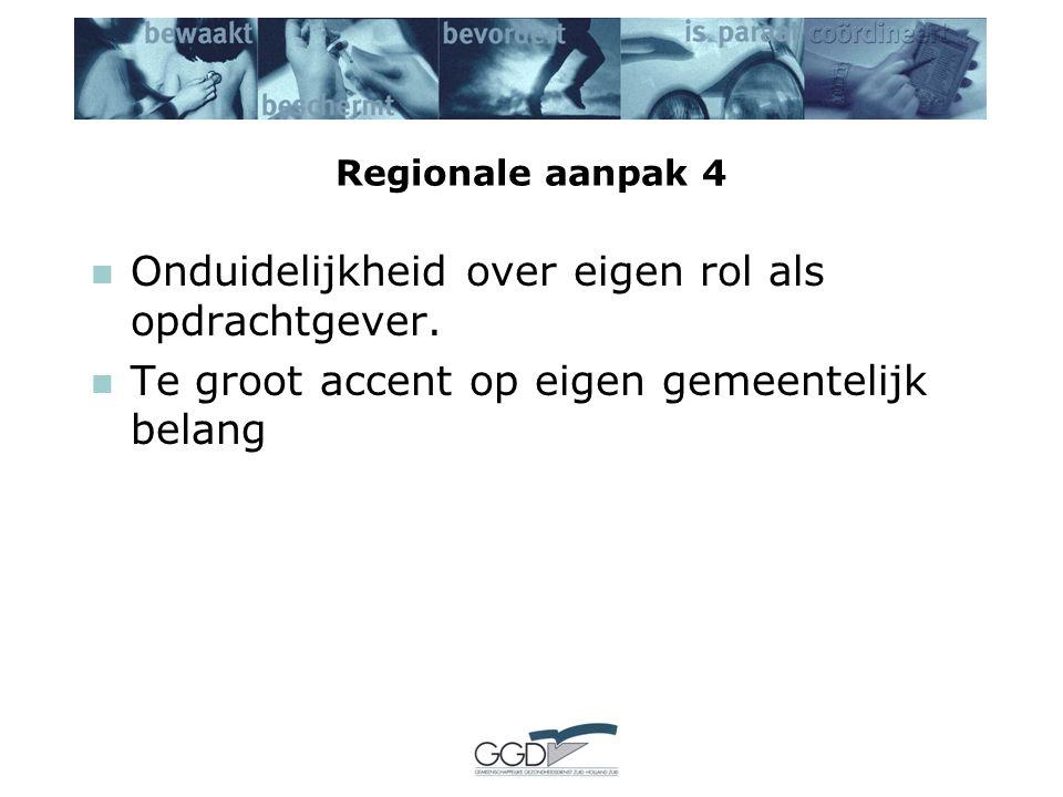 Regionale aanpak 4 Onduidelijkheid over eigen rol als opdrachtgever.