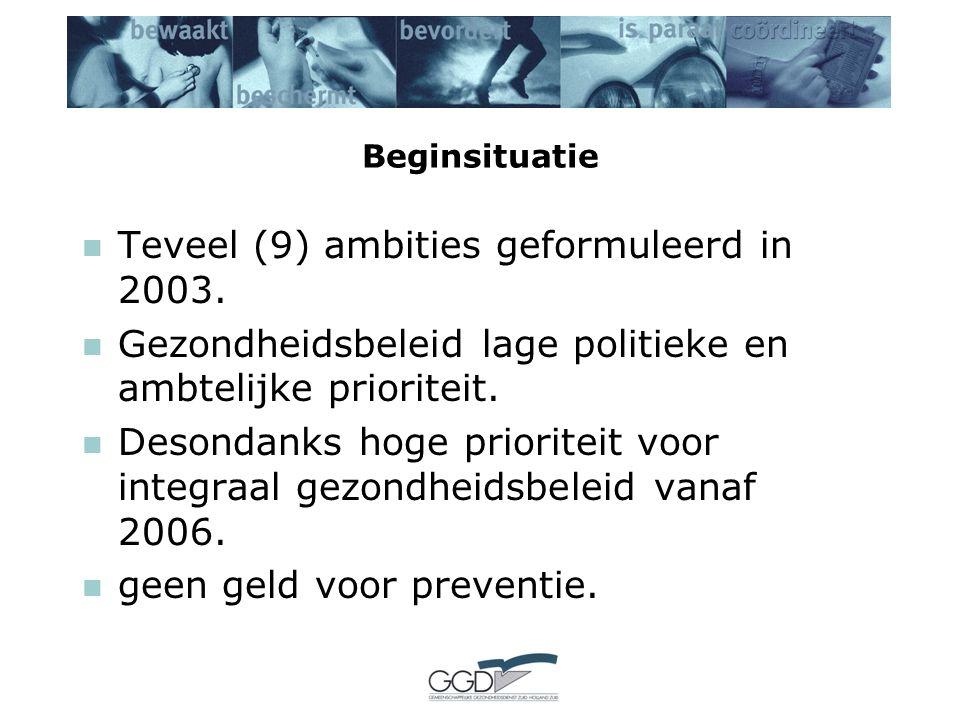 Beginsituatie Teveel (9) ambities geformuleerd in 2003. Gezondheidsbeleid lage politieke en ambtelijke prioriteit. Desondanks hoge prioriteit voor int
