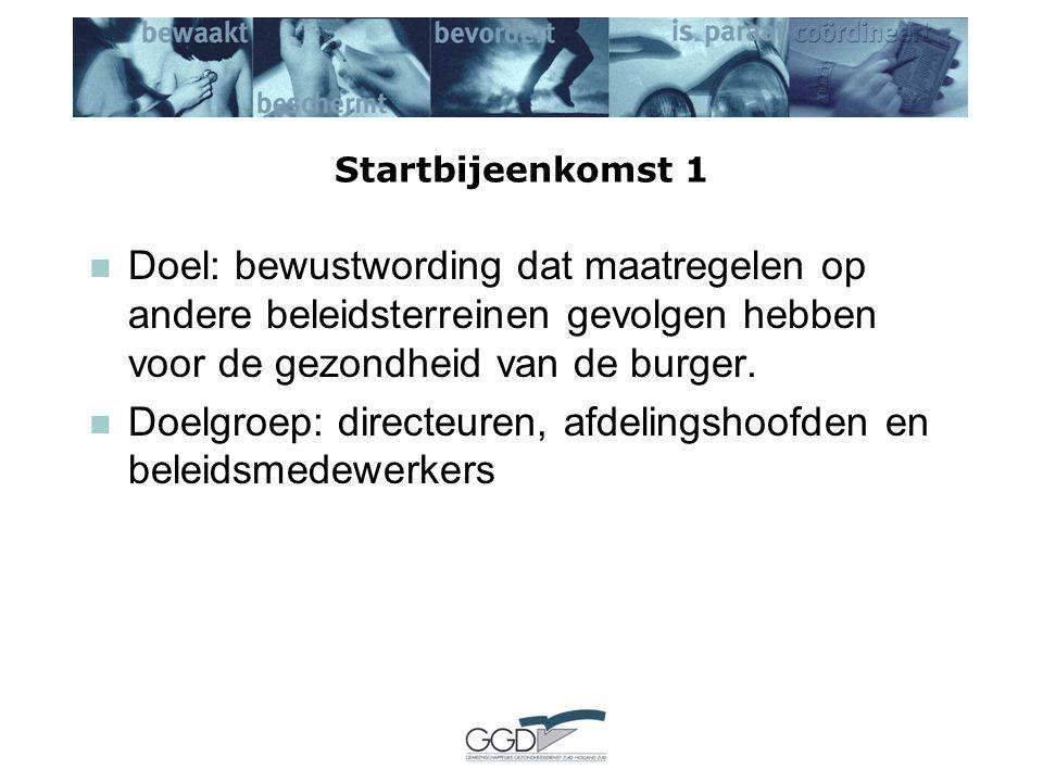 Startbijeenkomst 1 Doel: bewustwording dat maatregelen op andere beleidsterreinen gevolgen hebben voor de gezondheid van de burger.