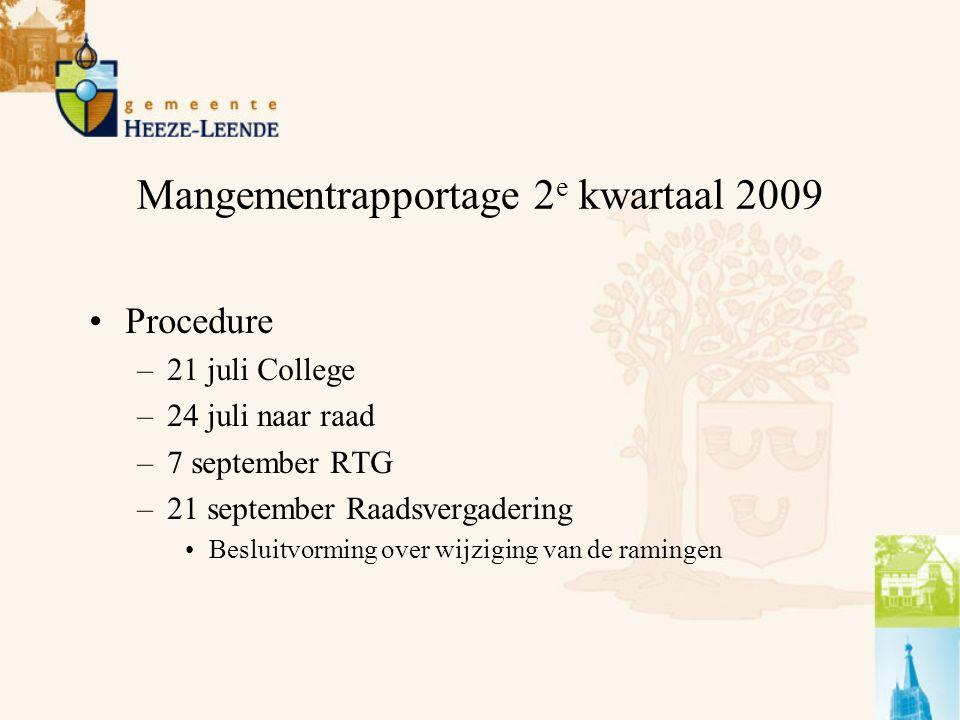 Mangementrapportage 2 e kwartaal 2009 Procedure –21 juli College –24 juli naar raad –7 september RTG –21 september Raadsvergadering Besluitvorming over wijziging van de ramingen