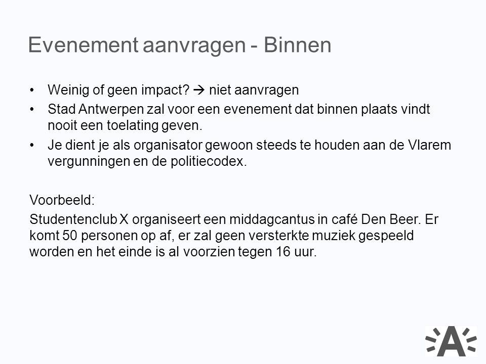 Weinig of geen impact?  niet aanvragen Stad Antwerpen zal voor een evenement dat binnen plaats vindt nooit een toelating geven. Je dient je als organ