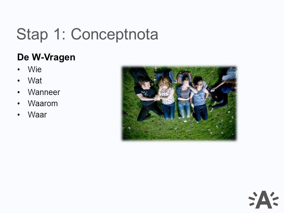 De W-Vragen Wie Wat Wanneer Waarom Waar Stap 1: Conceptnota