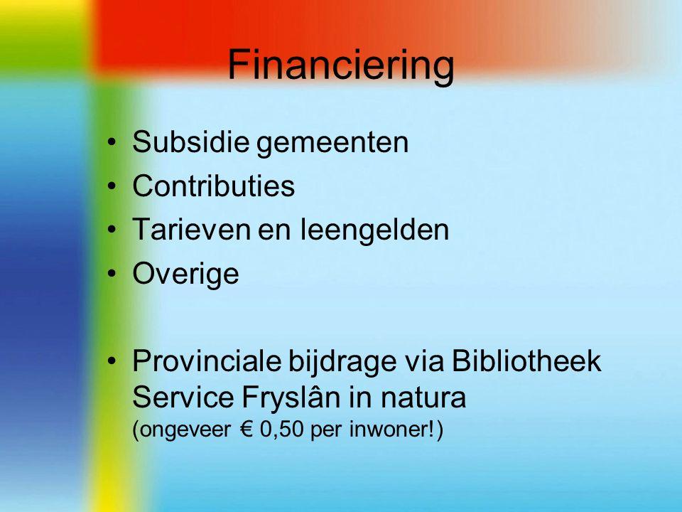 Financiering Subsidie gemeenten Contributies Tarieven en leengelden Overige Provinciale bijdrage via Bibliotheek Service Fryslân in natura (ongeveer € 0,50 per inwoner!)