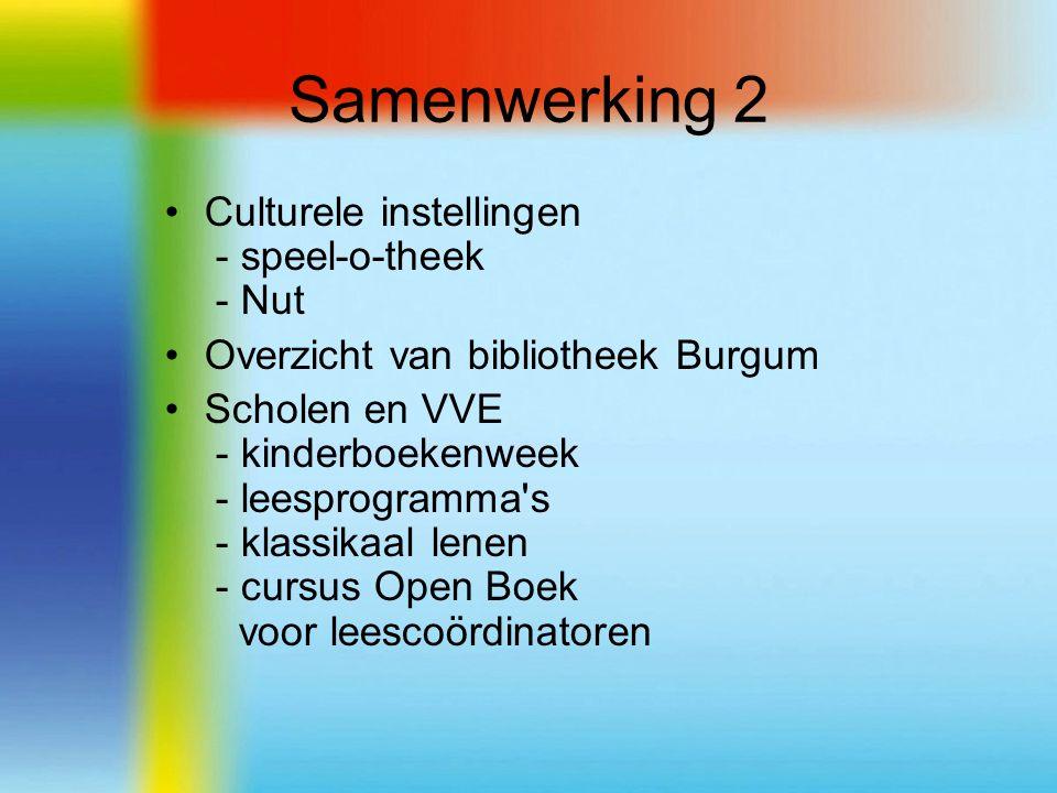 Samenwerking 2 Culturele instellingen - speel-o-theek - Nut Overzicht van bibliotheek Burgum Scholen en VVE - kinderboekenweek - leesprogramma s - klassikaal lenen - cursus Open Boek voor leescoördinatoren