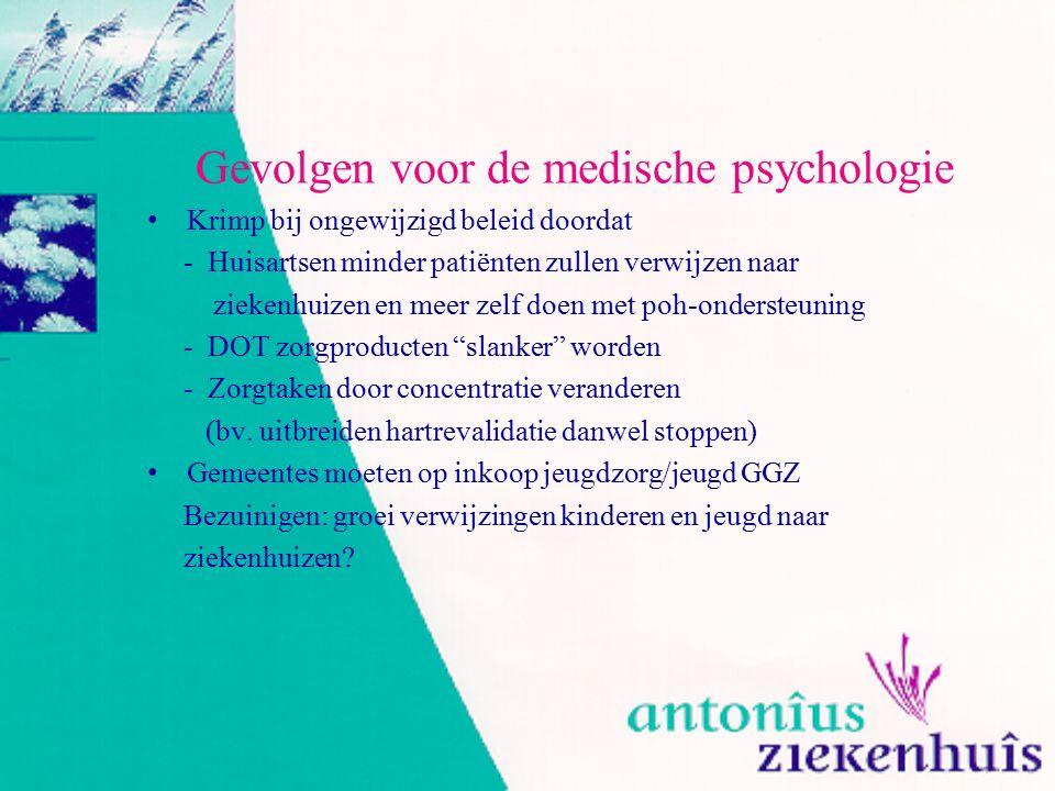 Gevolgen voor de medische psychologie Krimp bij ongewijzigd beleid doordat - Huisartsen minder patiënten zullen verwijzen naar ziekenhuizen en meer ze
