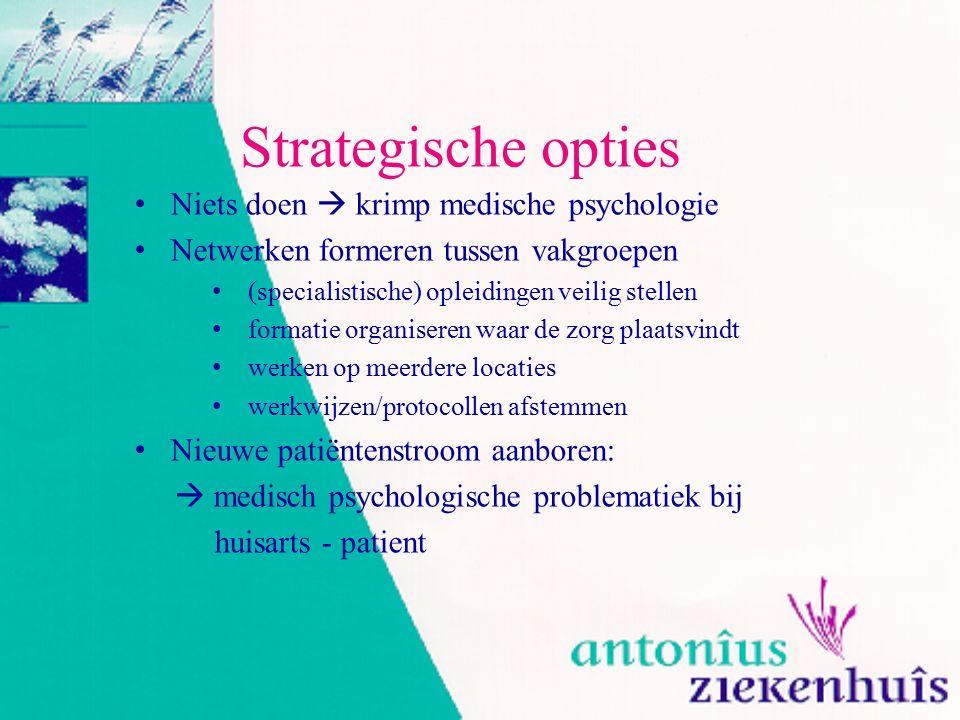 Strategische opties Niets doen  krimp medische psychologie Netwerken formeren tussen vakgroepen (specialistische) opleidingen veilig stellen formatie