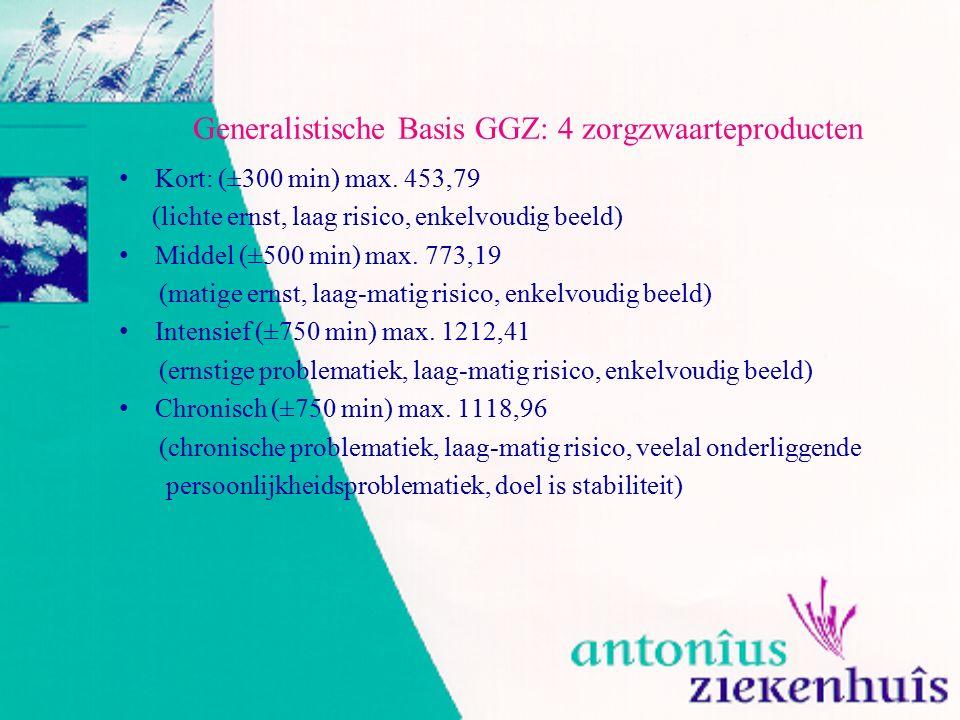 Generalistische Basis GGZ: 4 zorgzwaarteproducten Kort: (±300 min) max. 453,79 (lichte ernst, laag risico, enkelvoudig beeld) Middel (±500 min) max. 7