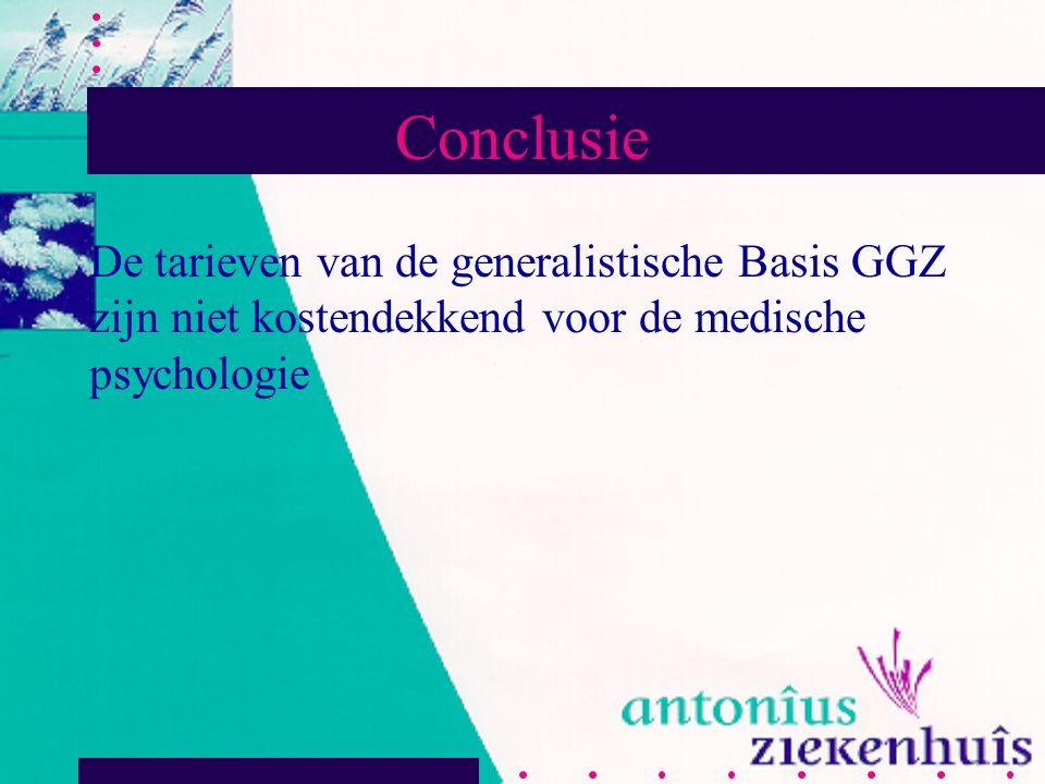 Conclusie De tarieven van de generalistische Basis GGZ zijn niet kostendekkend voor de medische psychologie