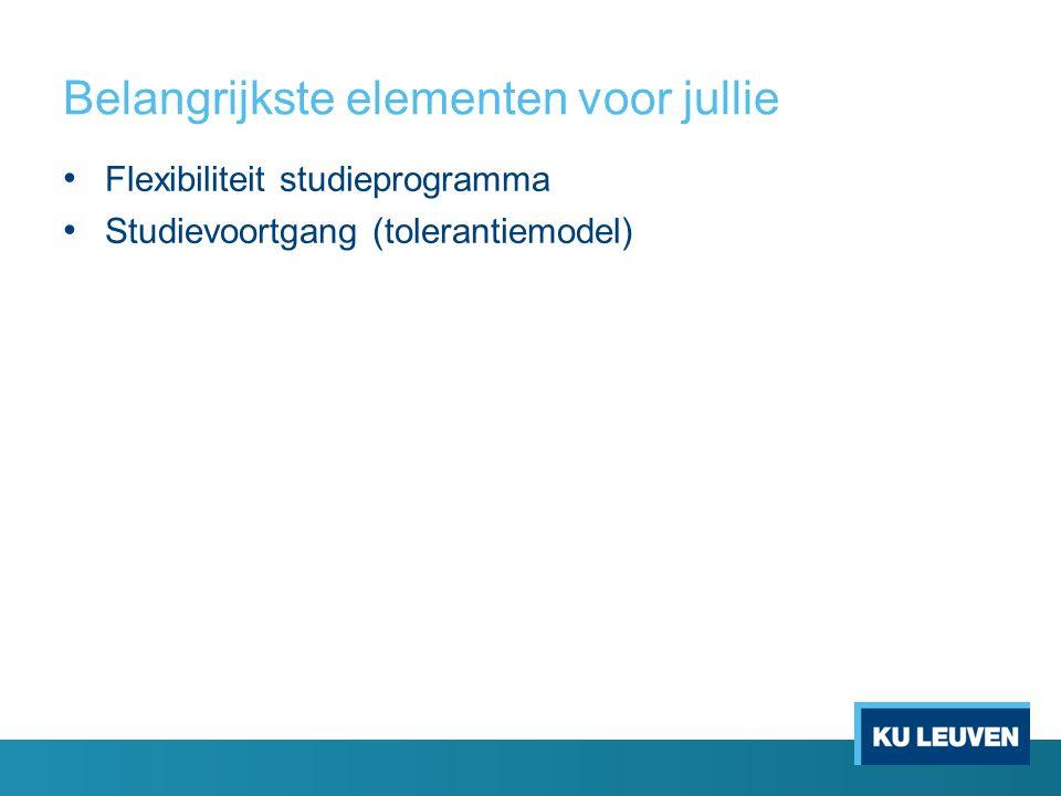 Belangrijkste elementen voor jullie Flexibiliteit studieprogramma Studievoortgang (tolerantiemodel)