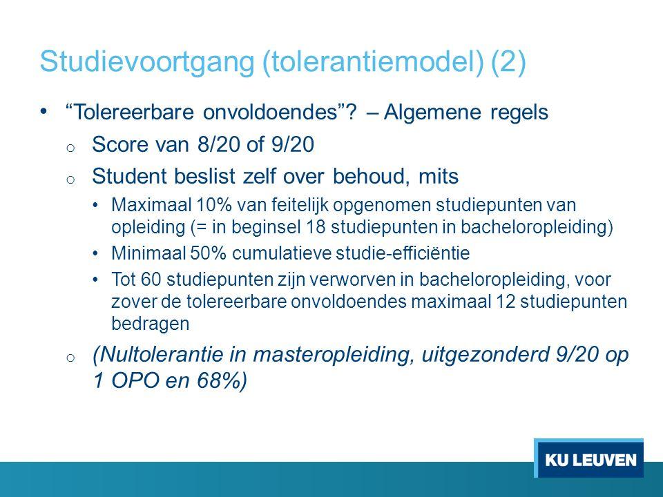Studievoortgang (tolerantiemodel) (2) Tolereerbare onvoldoendes .