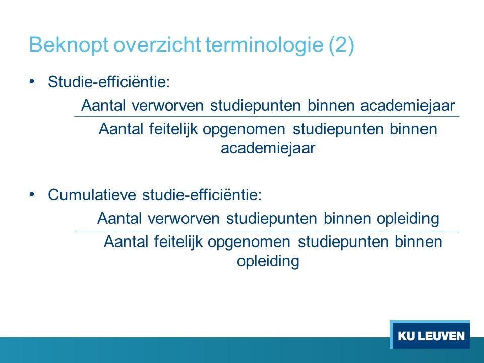 Beknopt overzicht terminologie (2) Studie-efficiëntie: Aantal verworven studiepunten binnen academiejaar Aantal feitelijk opgenomen studiepunten binne