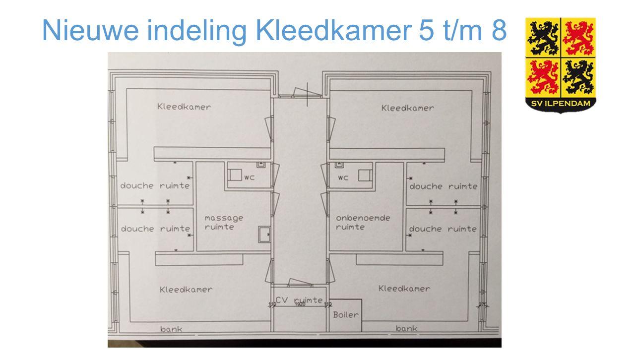 Nieuwe indeling Kleedkamer 5 t/m 8