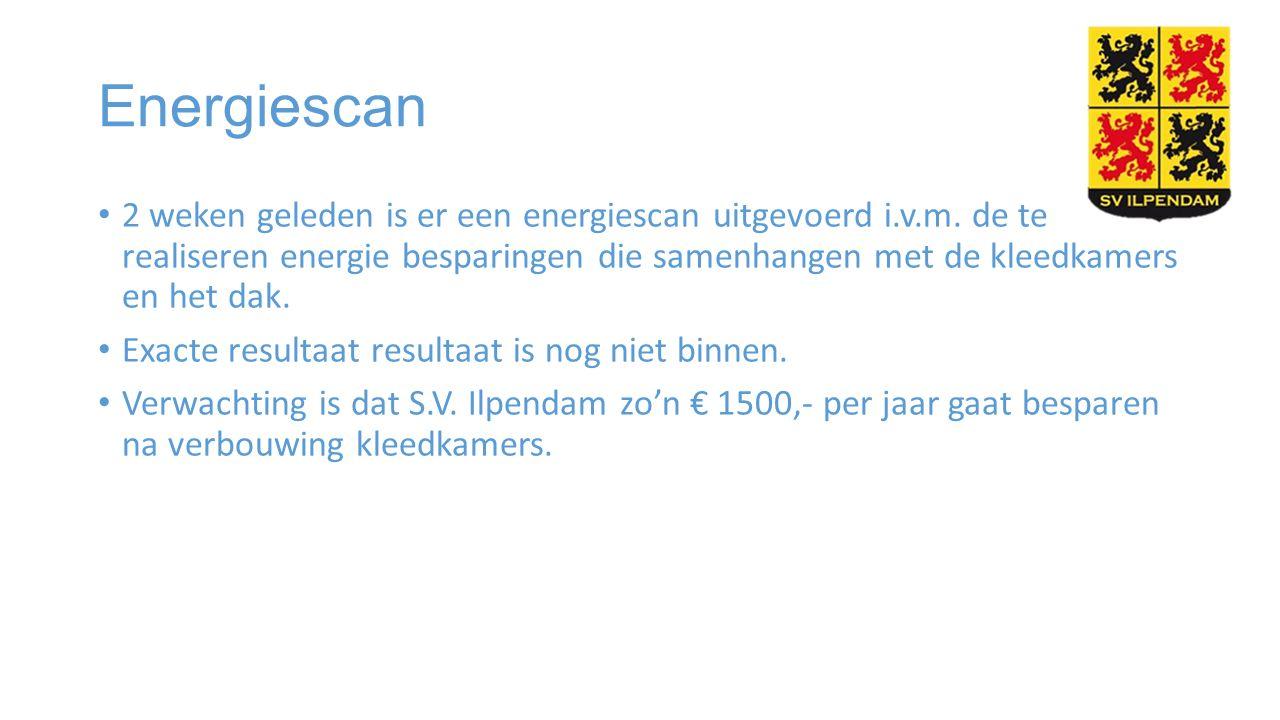 Energiescan 2 weken geleden is er een energiescan uitgevoerd i.v.m. de te realiseren energie besparingen die samenhangen met de kleedkamers en het dak