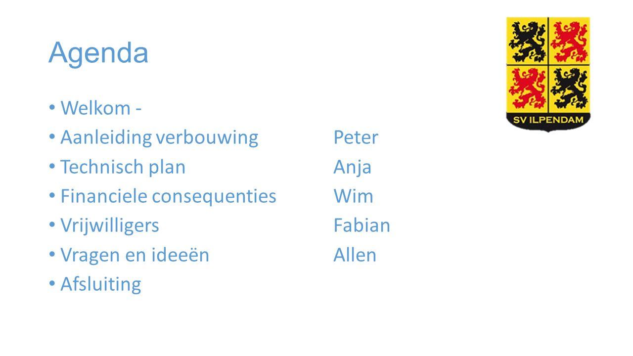 Agenda Welkom - Aanleiding verbouwing Peter Technisch planAnja Financiele consequentiesWim VrijwilligersFabian Vragen en ideeënAllen Afsluiting