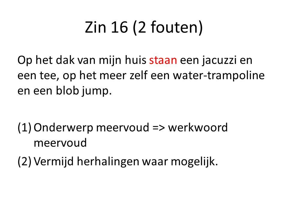 Zin 16 (2 fouten) Op het dak van mijn huis staan een jacuzzi en een tee, op het meer zelf een water-trampoline en een blob jump.