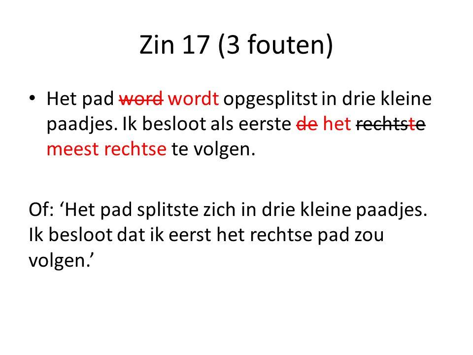 Zin 17 (3 fouten) Het pad word wordt opgesplitst in drie kleine paadjes.