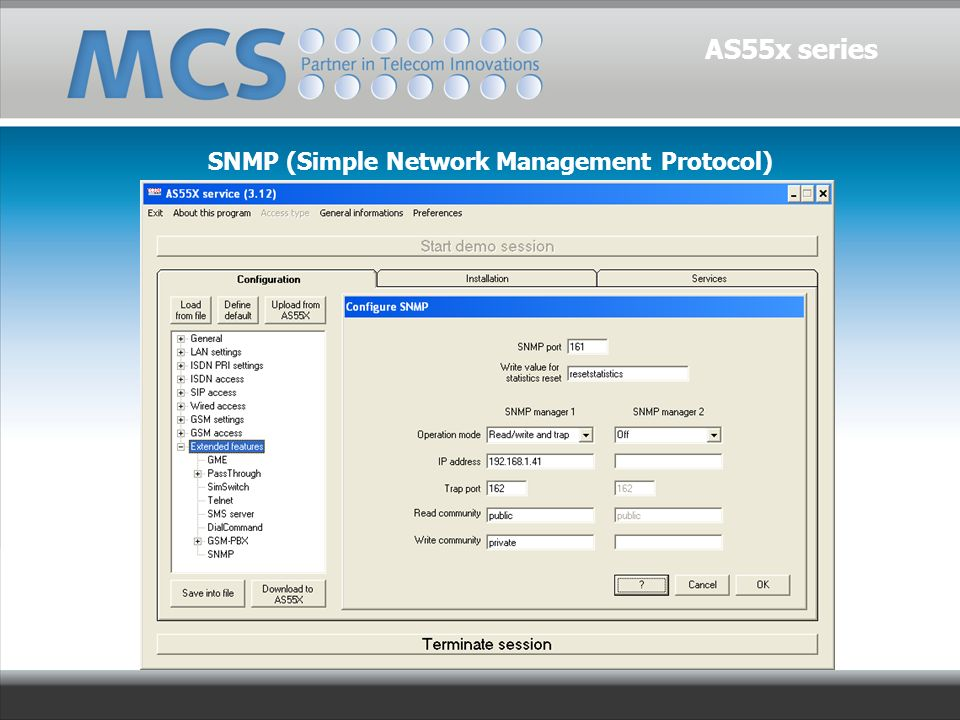 AS55x series SNMP (Simple Network Management Protocol)