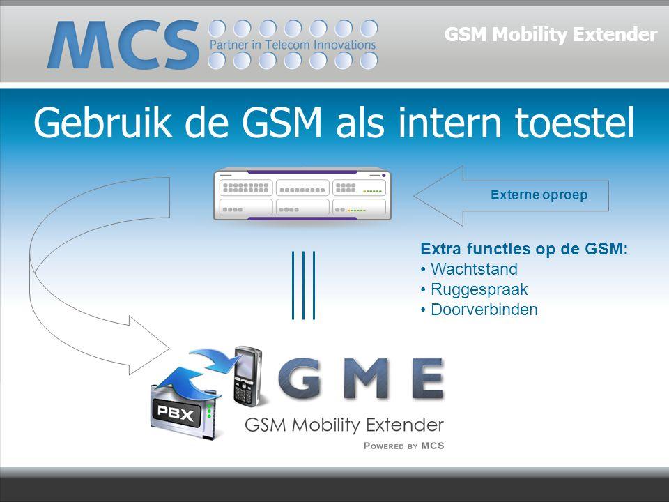 Gebruik de GSM als intern toestel Externe oproep Extra functies op de GSM: Wachtstand Ruggespraak Doorverbinden GSM Mobility Extender