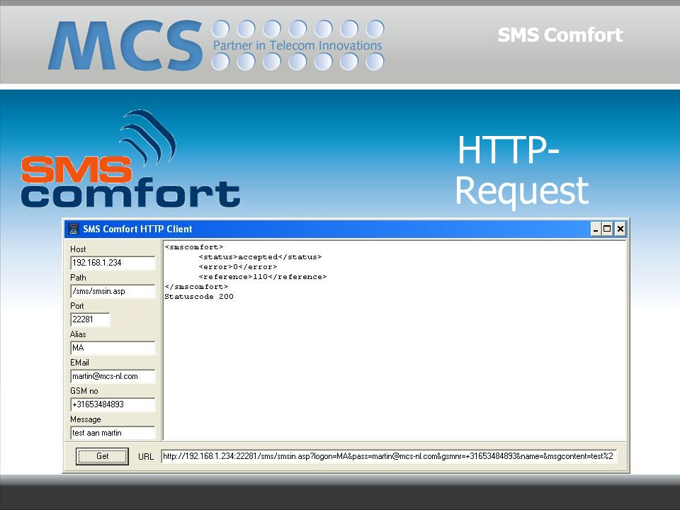 HTTP- Request SMS Comfort
